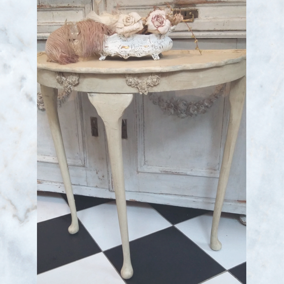 Antique Vintage French Painted Console Table