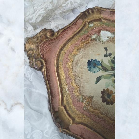 Vintage Florentine Gilt Wood Painted Floral Tray 1950's