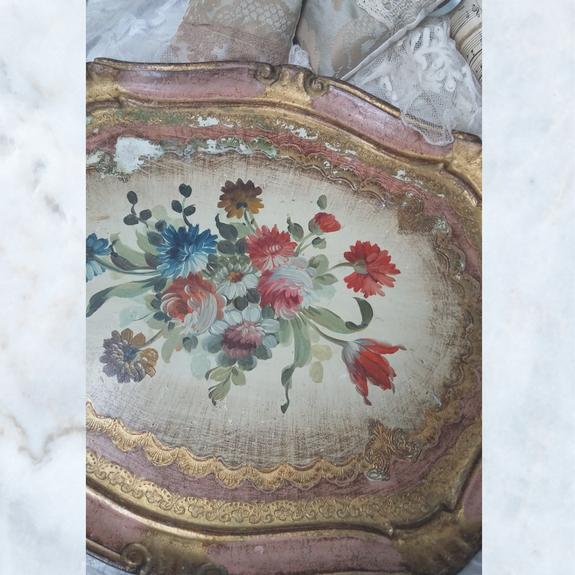 Vintage Italian Florentine Gilt Wood Floral Painted Tray