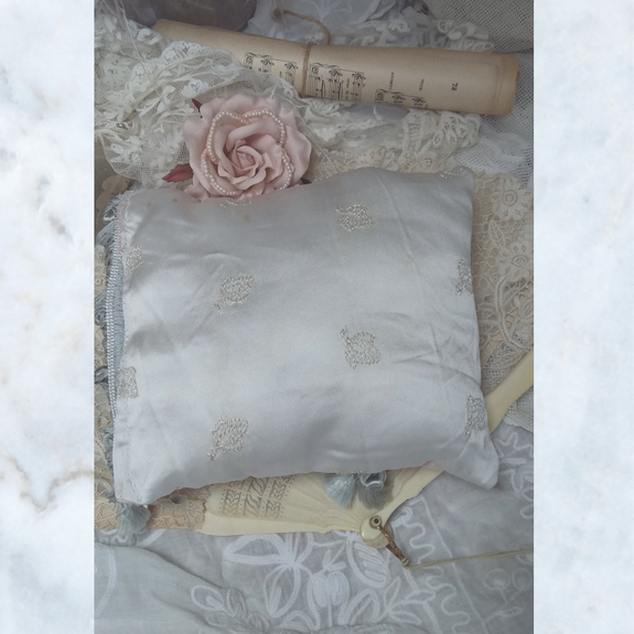 Vintage Antique Brocade and Silk Lavender Cushion Pillow