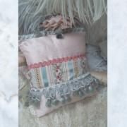 Antique Brocade and Silk Lavender Pillow Cushion