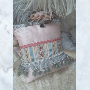 Antique Brocade and Silk Lavender Pillow Cushion