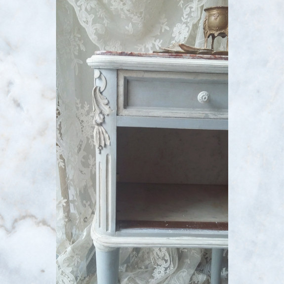 Antique French Marble Top Pot Cupboard
