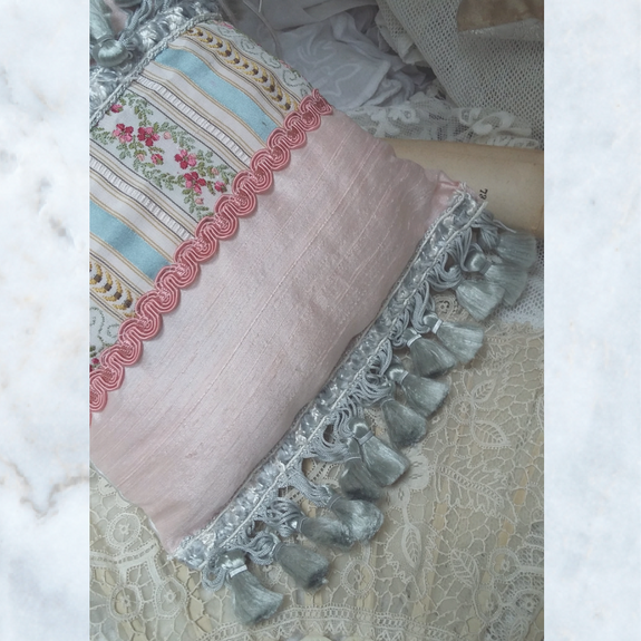 Antique Vintage Brocade and Silk Lavender Pillow Cushion