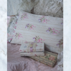 Vintage French Floral Feather Pillow with Lace Pom-Pom Trim
