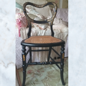 Victorian ebonies ballon back burger chair with mother of pearl inlay