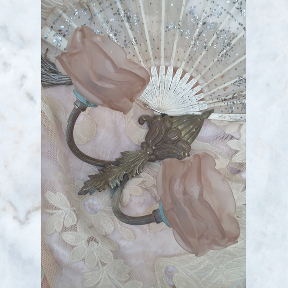 Antique French rose pink glass wall sconce