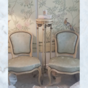 French 1900s pair of silk brocade chairs