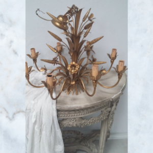 Vintage French wheat sheaf gilt chandelier