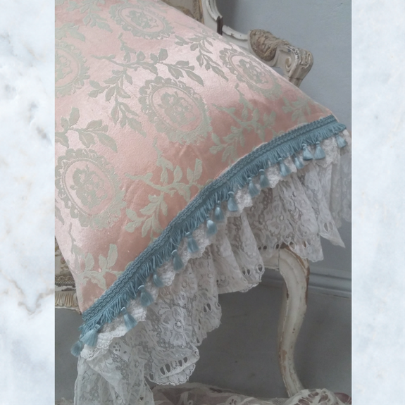 antique damask and lace pillow