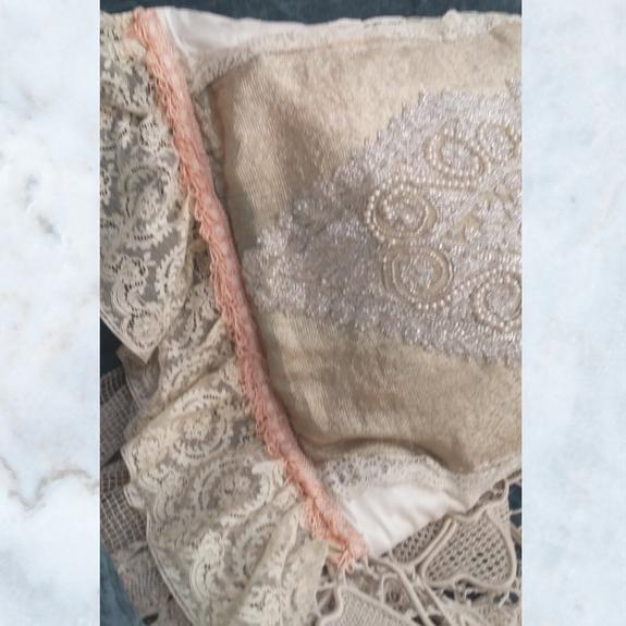 Antique beaded & lace boudoir pillow