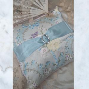 Vintage french swag & diamante buckle cushion