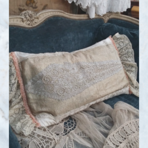 Antique beaded & lace boudoir pillow