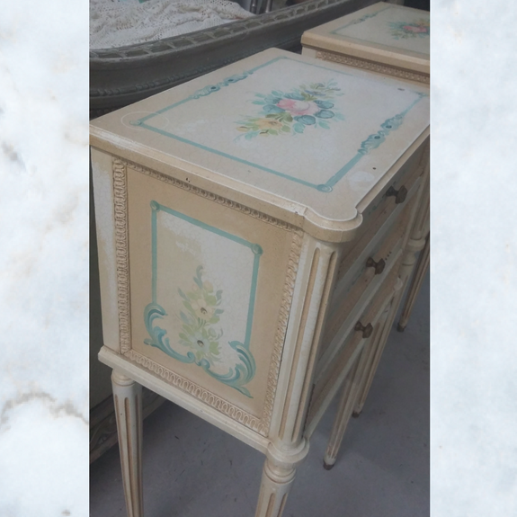 Pair of French louis floral bedside cabinets