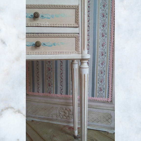 Pair of French floral bedside cabinets