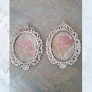 Pair of vintage floral picture frames