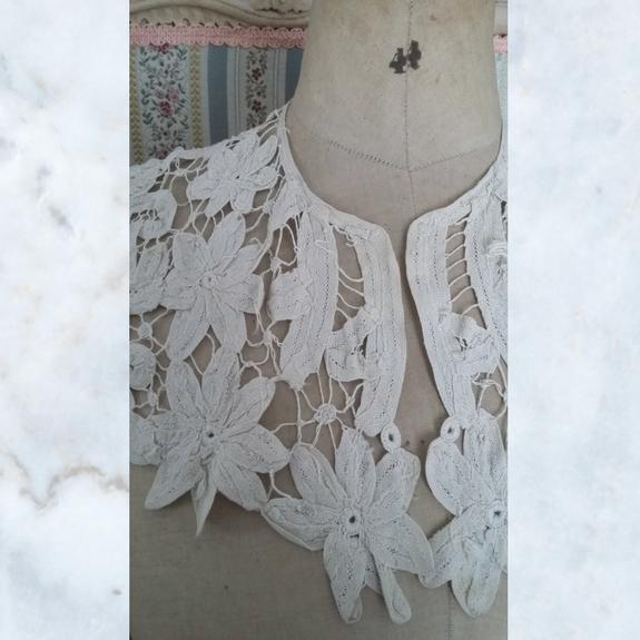 Antique victorian cutwork lace collar