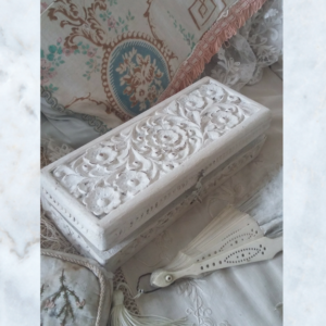 Carved wood box with decoupage