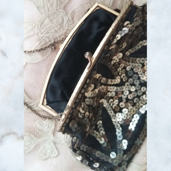 1930s black evening bag