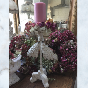 angel wing candle stick with wreath