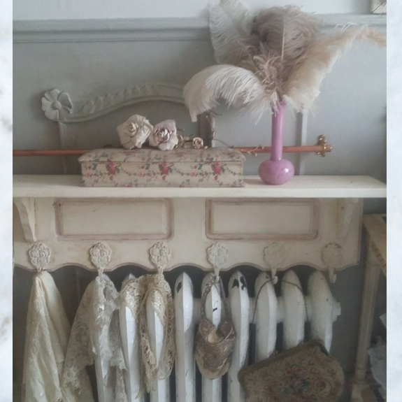 French wood shelf and hooks