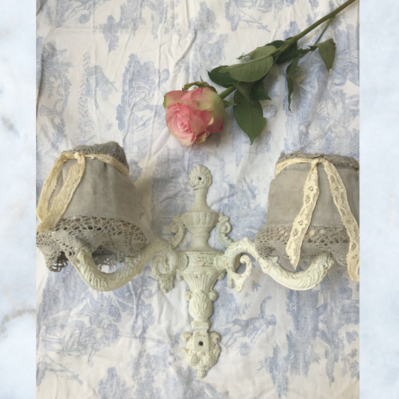 French wall light with grey shades