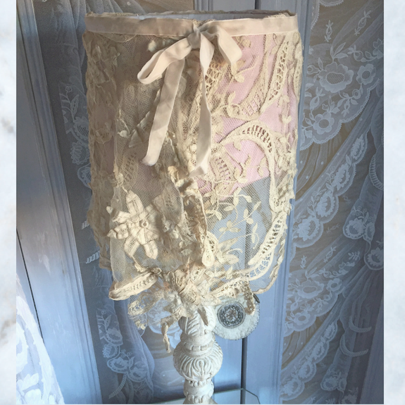 vintage french tambour lace lamp