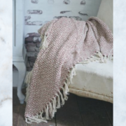 JDL vintage powder rose throw