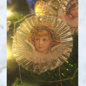 silver doily cherub decoration