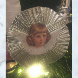 silver doily cherub decorations