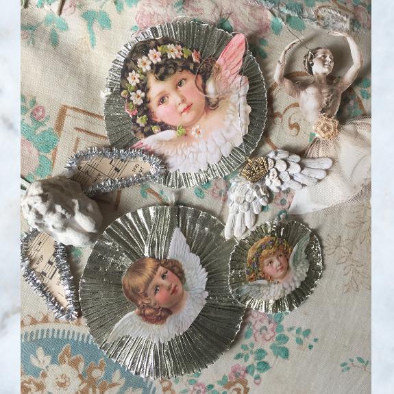 silver doily cherub decorations