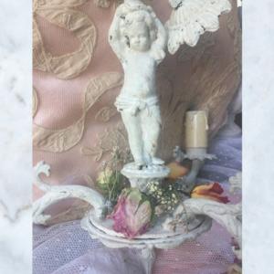 Vintage French cherub chippy paint chandelier light
