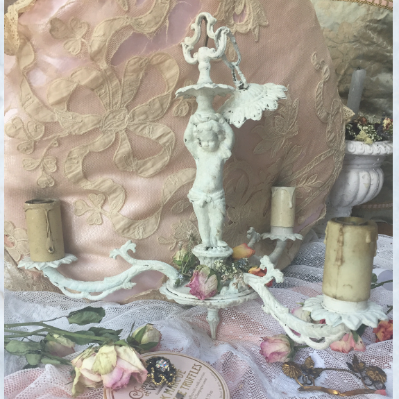 Vintage French cherub chippy paint chandelier light