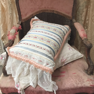 antique brocade & lace cushion