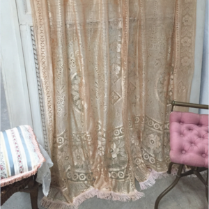 Pair of 1920s fringed lace curtains
