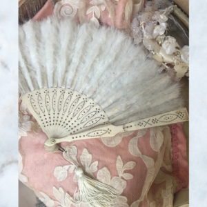 Vintage French feather hand fan