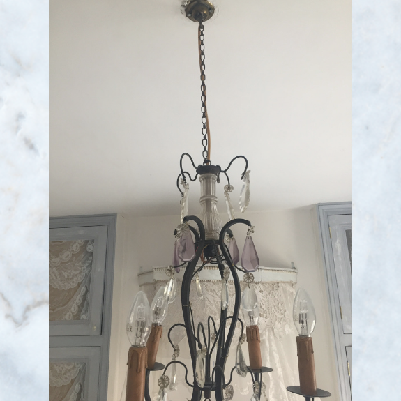 Antique french chandelier with lilac crystals