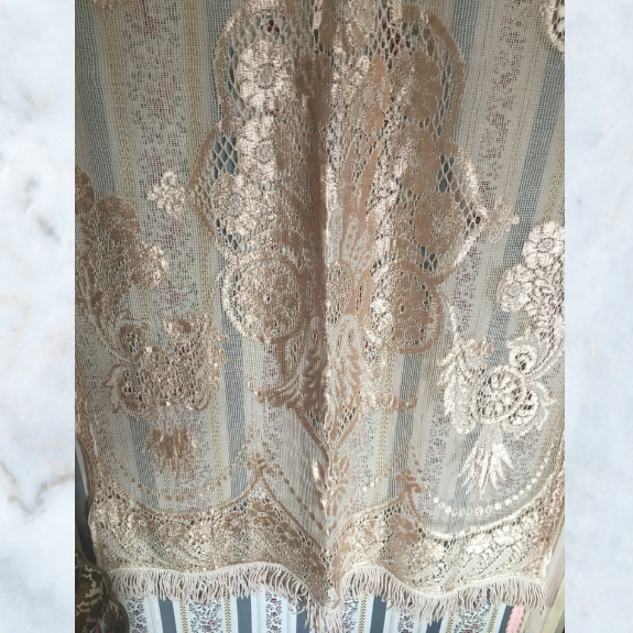 Small 1920s lace curtain with fringing