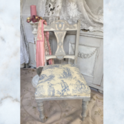 Antique French toile de jouy chair