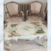 Vintage french large floral table