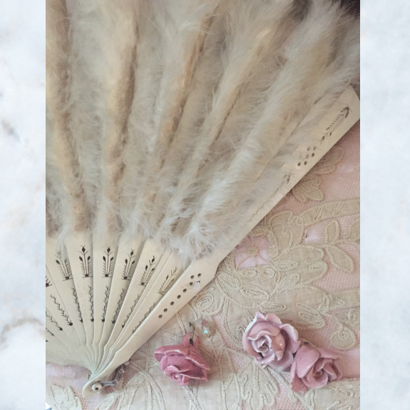 Antique feather hand fan