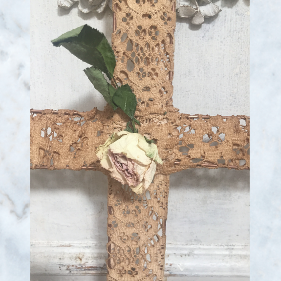 Tea stained hand made lace cross