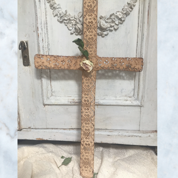 Tea stained handmade lace cross