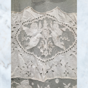 Antique French lace & cherub curtain panel