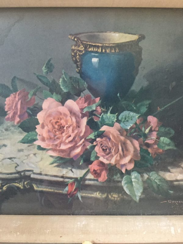 Vernon Ward english roses and french porcelain picture