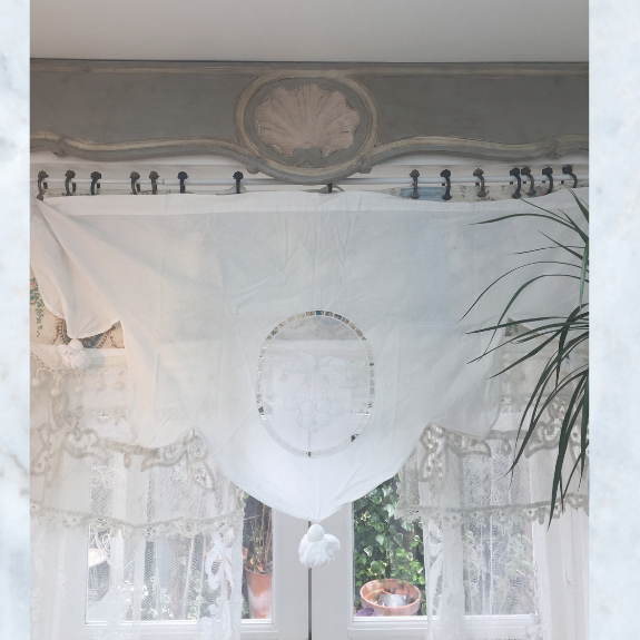 Vintage French cafe curtain