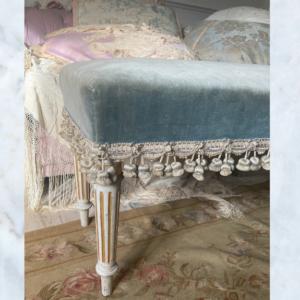 French Louis velvet bench footstool